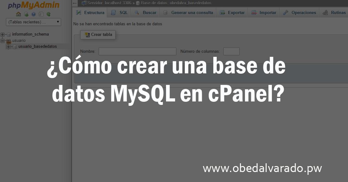 Crear una base de datos mysql en cpanel