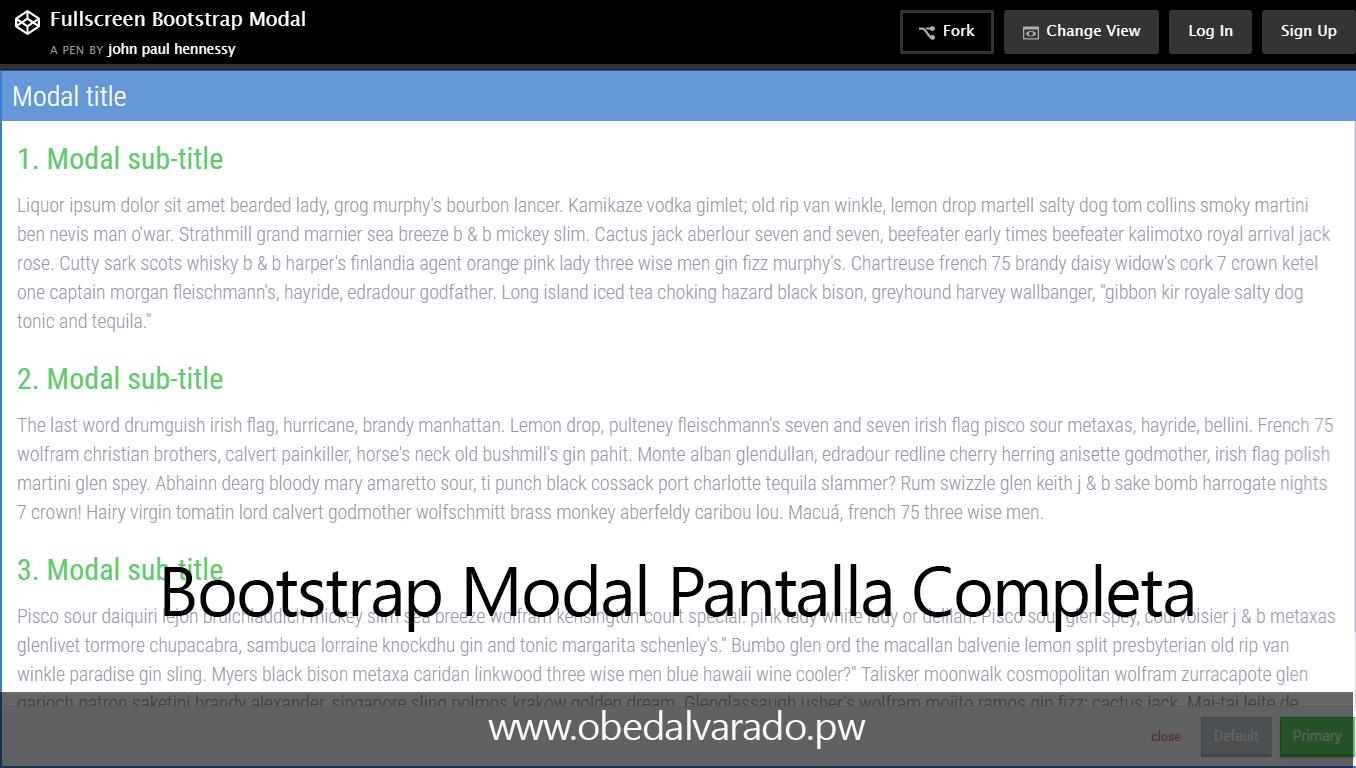 Fullscreen Bootstrap Modal
