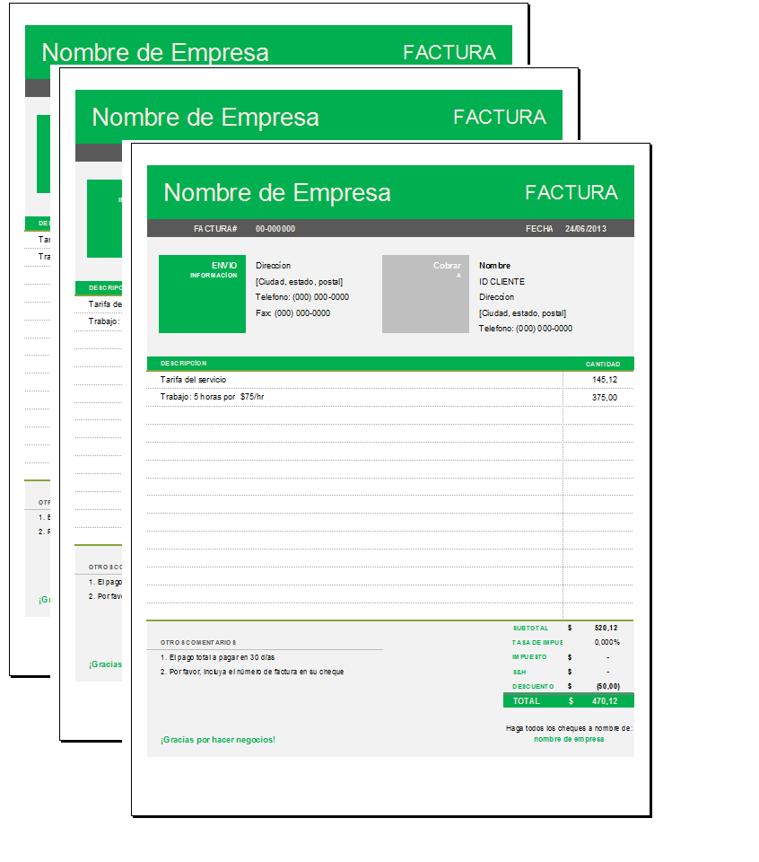 formato de factura simple con excel sistemas web