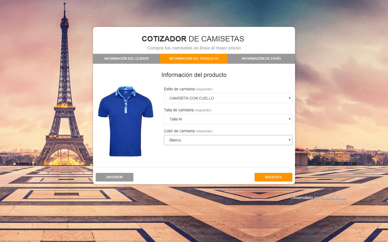 Cotizador web de camisetas con PHP