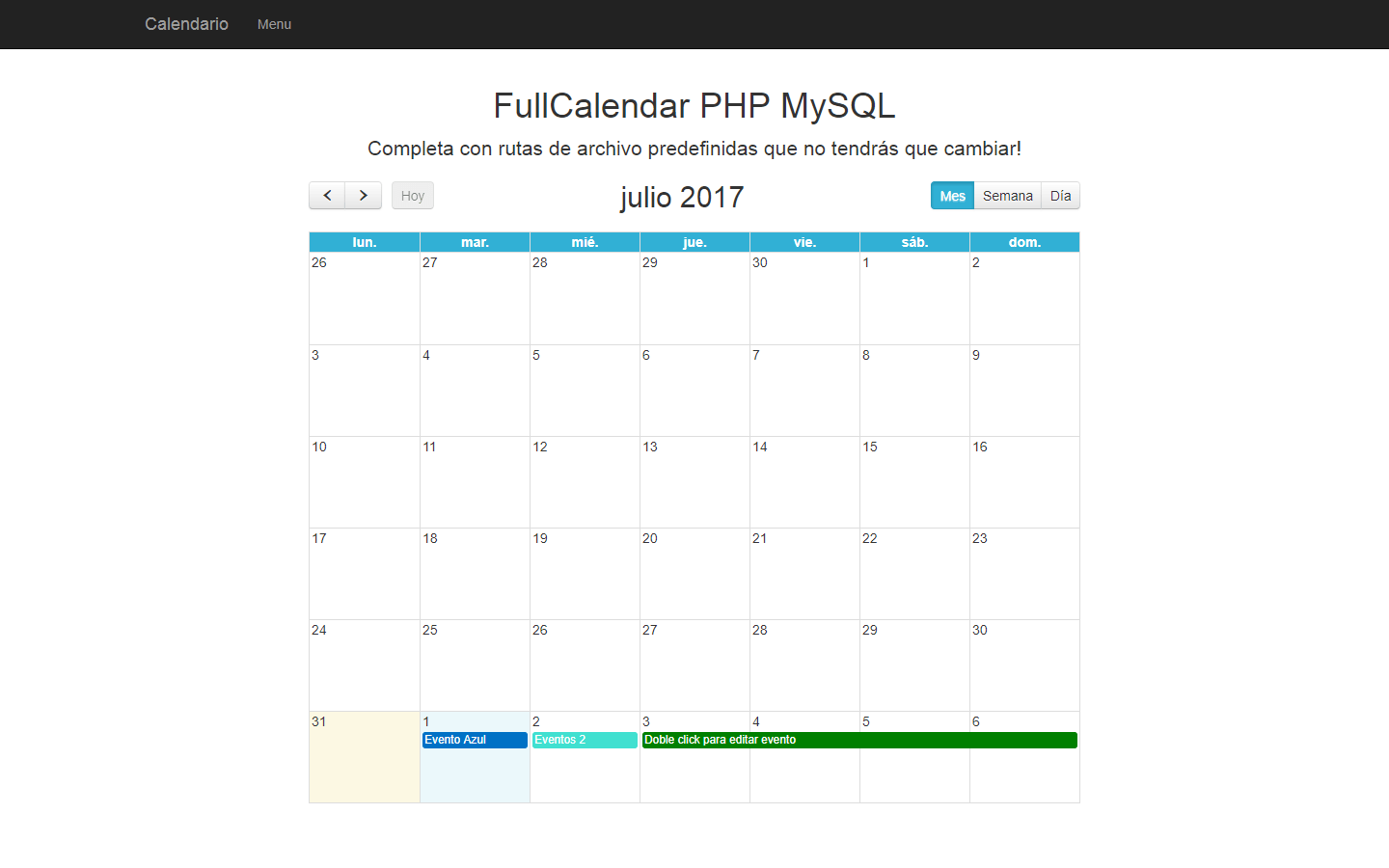 Calendario Php.Fullcalendar Con Php Y Mysql Sistemas Web