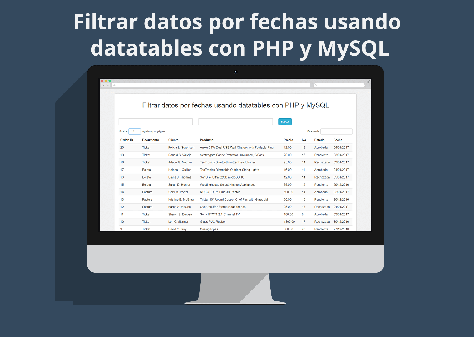 Filtrar datos por fechas usando datatables con PHP y MySQL