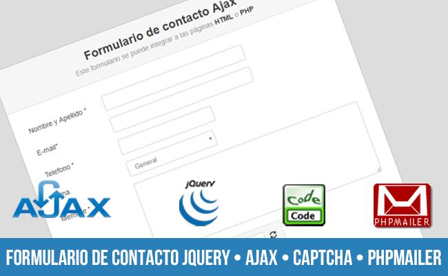 Formulario de contacto usando jQuery, AJAX, CAPTCHA, PHPMAILER