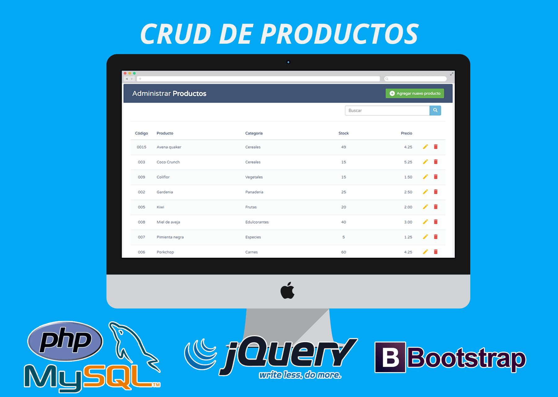 CRUD de productos con PHP - MySQL - jQuery AJAX