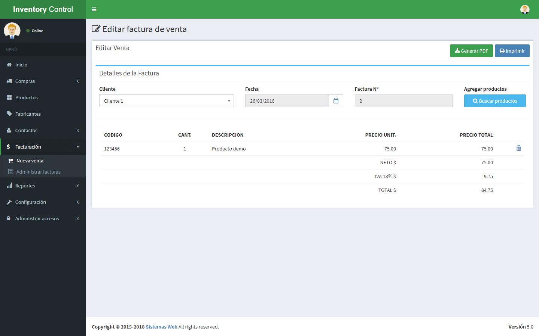 Sistema de control de inventario versión 5 actualización