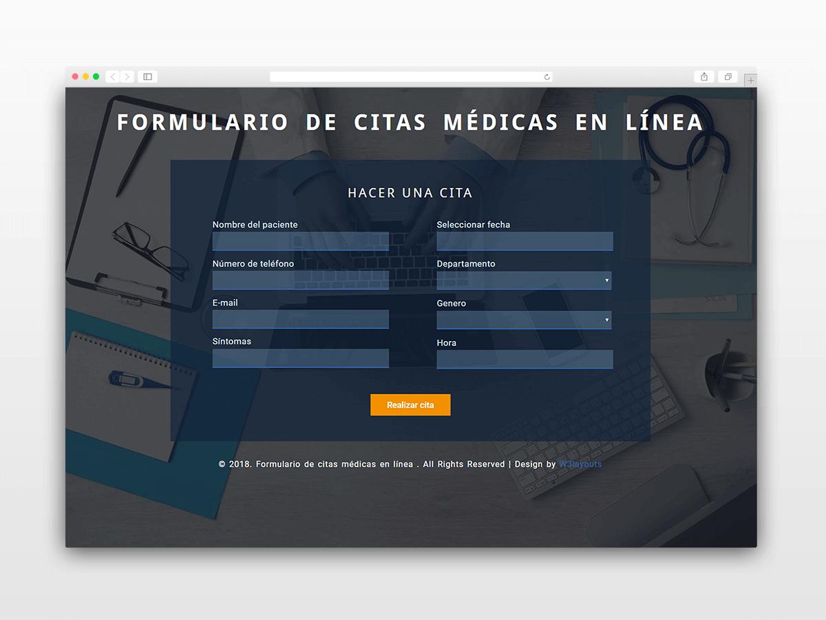Formulario de citas médicas en línea desarrollado con PHP