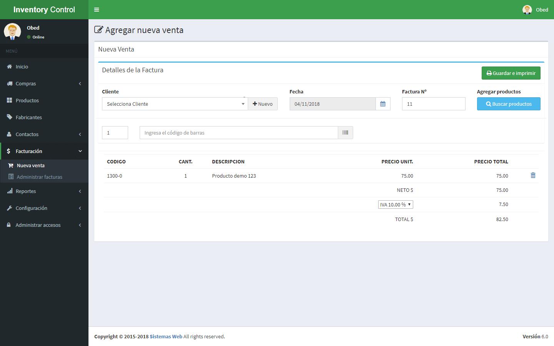 Sistema de control de inventario versión 6 - Actualización