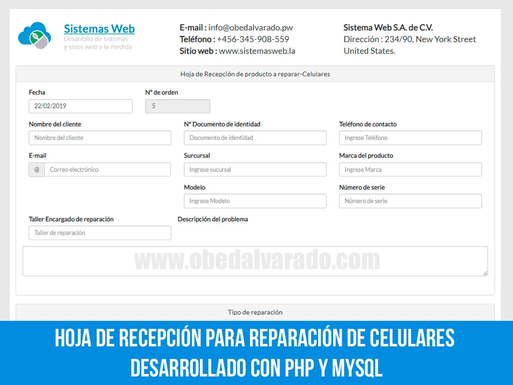 Hoja de recepción para reparación de celulares desarrollado con PHP y MySQL