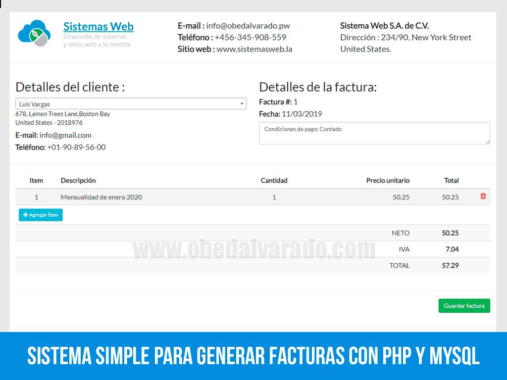 Sistema simple para generar facturas con PHP y MySQL