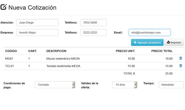 Formulario web de cotizaciones